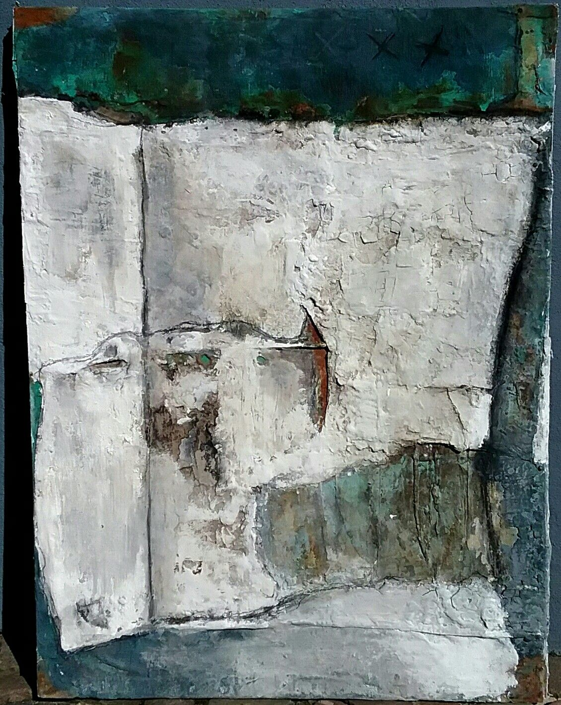 Rost Blau Weiss 100x120 Encaustics Abstracts Arte Abstracto Pintar
