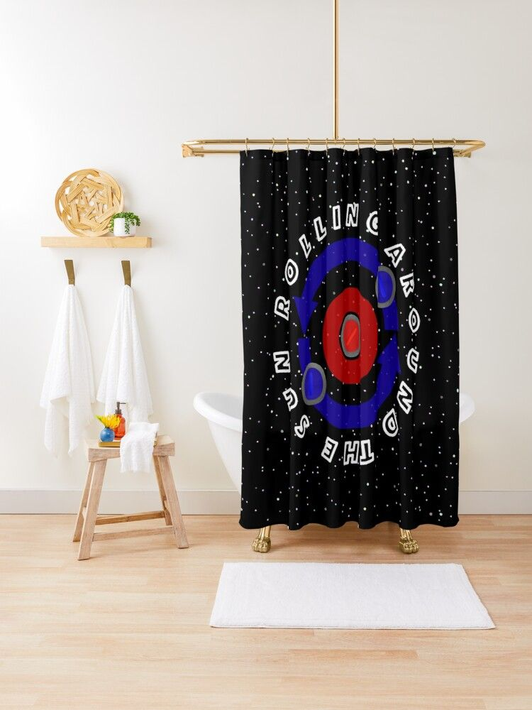 Curling Stone Rolling Like The Earth S Orbit Shower Curtain By