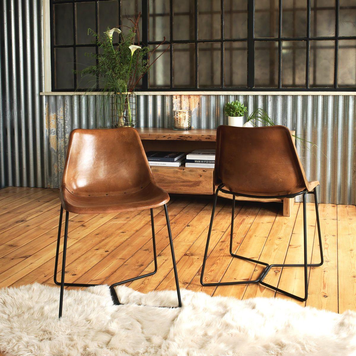 cuir chaise industrielle