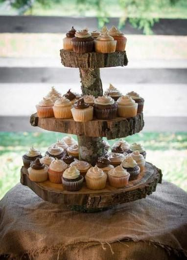 Rustic Wood Cupcake Stand 3 Tier But Fill With Brownies Instead Of