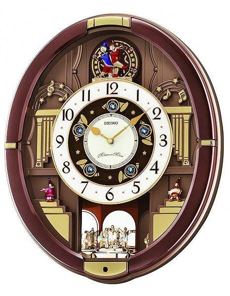 Seiko Melos In Motion Wall Clock Rotating Pendulum W 15 Swarovski Crystals
