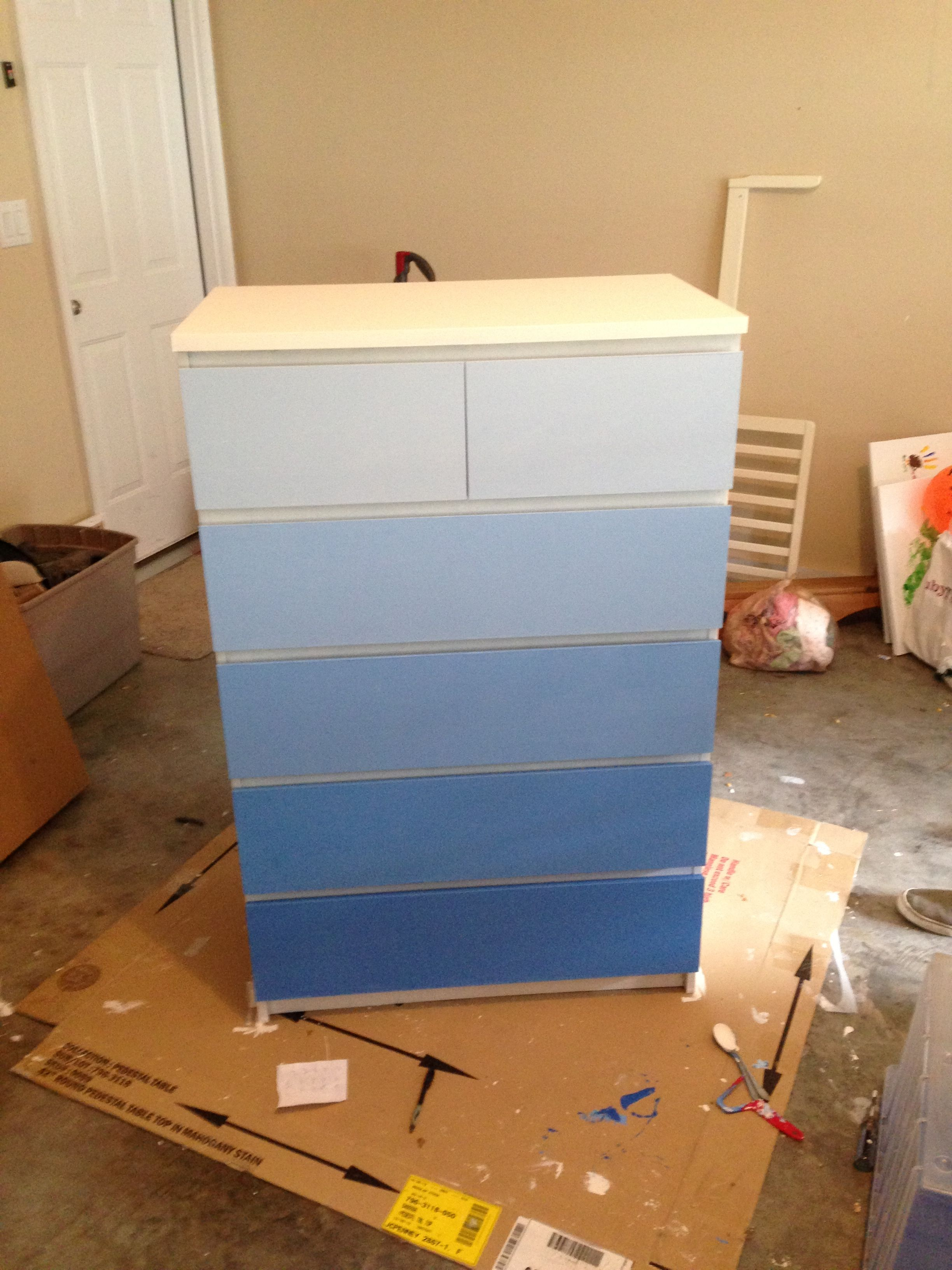 lily 39 s ombre dresser for her room ikea malm hack wttc grad crafts completed pinterest. Black Bedroom Furniture Sets. Home Design Ideas