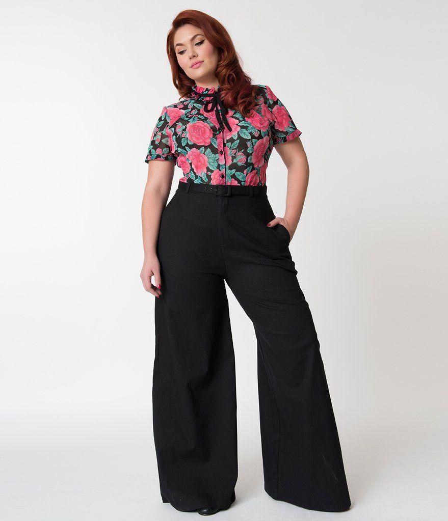 Collectif Plus Size Black Wide Leg Vicky Cotton Trousers Wide Leg Trousers Black Wide Leg Trousers Plus Size