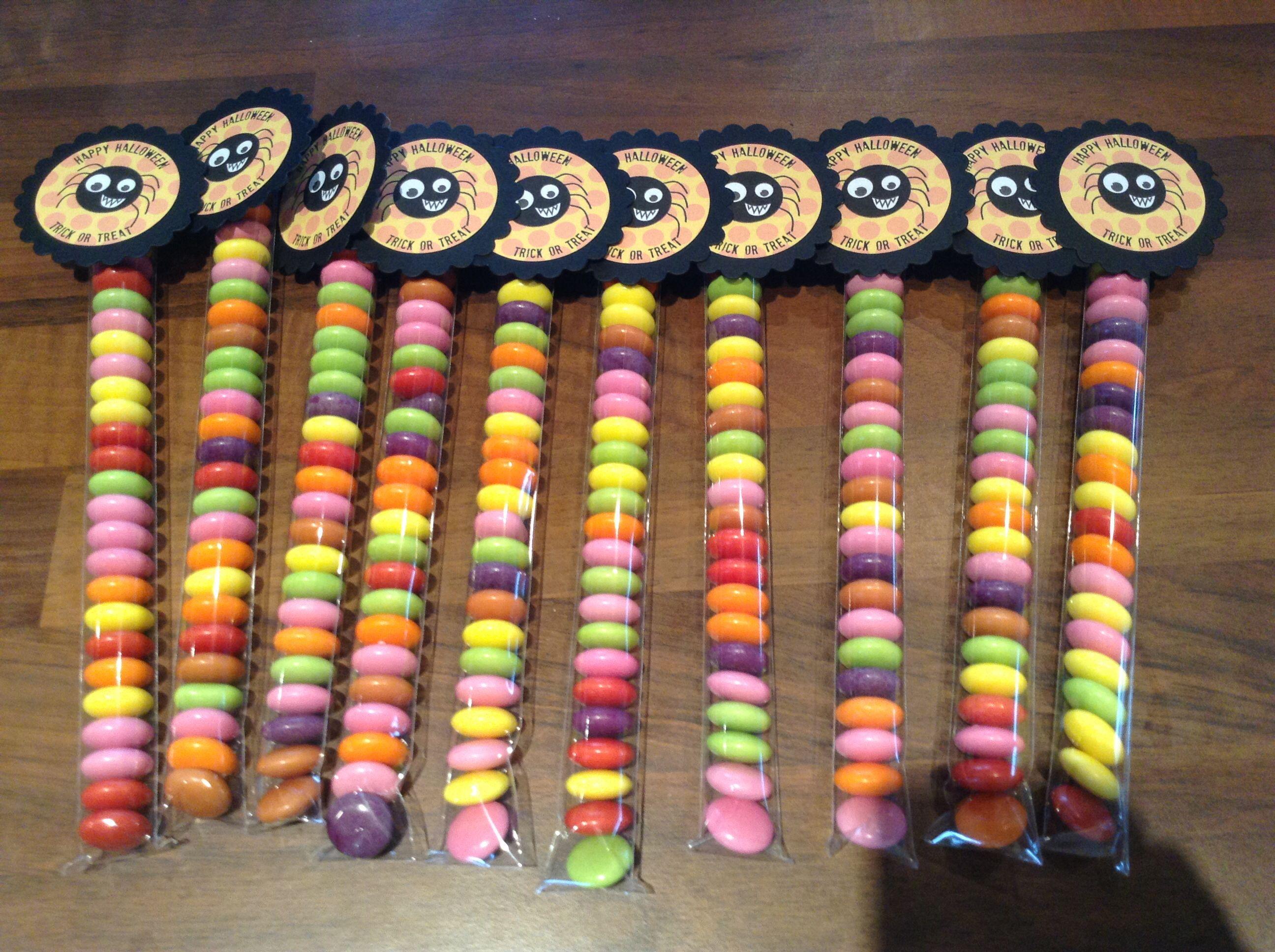 Halloween sweetie tubes filled with smarties