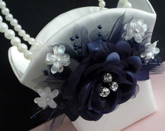 Midnight Blue Flower Girl Basket by sarahkaydesign on Etsy, $30.00
