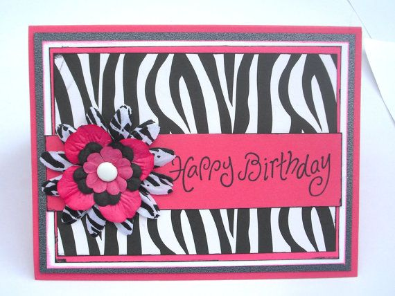 Pink And Zebra Print Happy Birthday Card With Flower For Teens