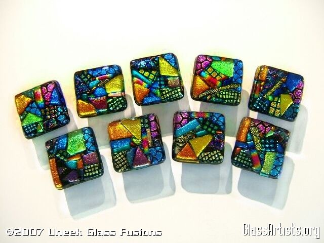Fused Glass Art   Dichroic Fused Glass Cabinet Knobs   Art Glass ...