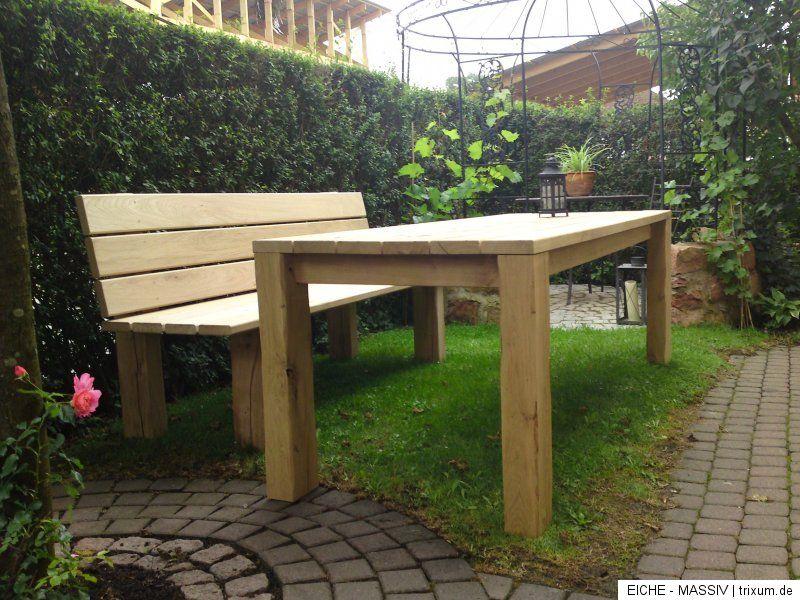 Hochwertiger Eichenholz Gartentisch Eichentisch Eiche Tisch