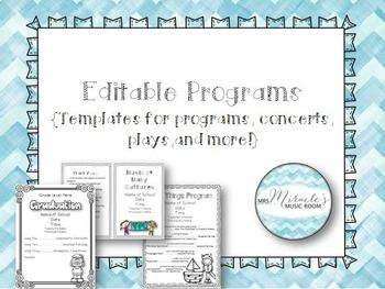 Editable Music Programs {Templates for programs, concerts, plays ...