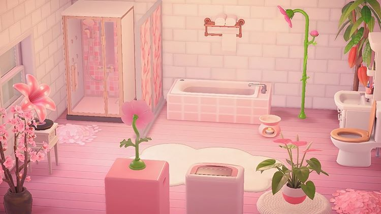 Acnh Designs Layouts On Instagram This Pink Green Bathroom Is The Perfect Place To Turn On Some Lo Fi Animal Crossing 3ds Animal Crossing Ac New Leaf