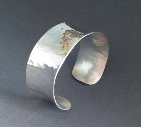 Hammered Sterling Silver Cuff Bracelet Size Small by SeventhWillow
