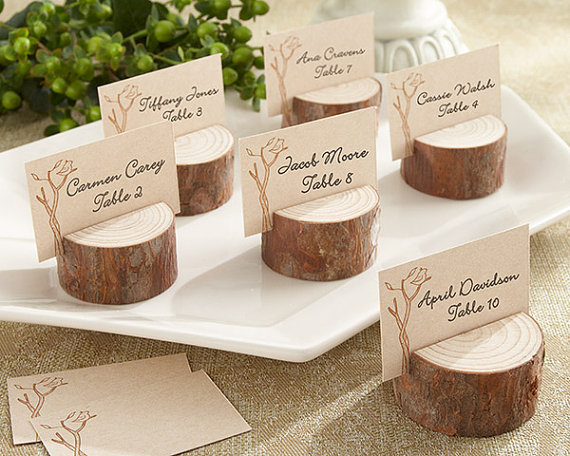 Wooden Bride Groom Couple Wedding Favor Boxes Place Card Holders