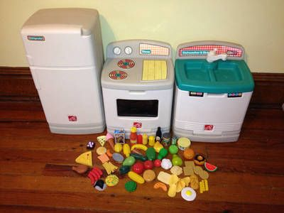 Plastic Play Kitchen Step 2 step 2 kitchen fridge refrigerator stove dishwasher + play food