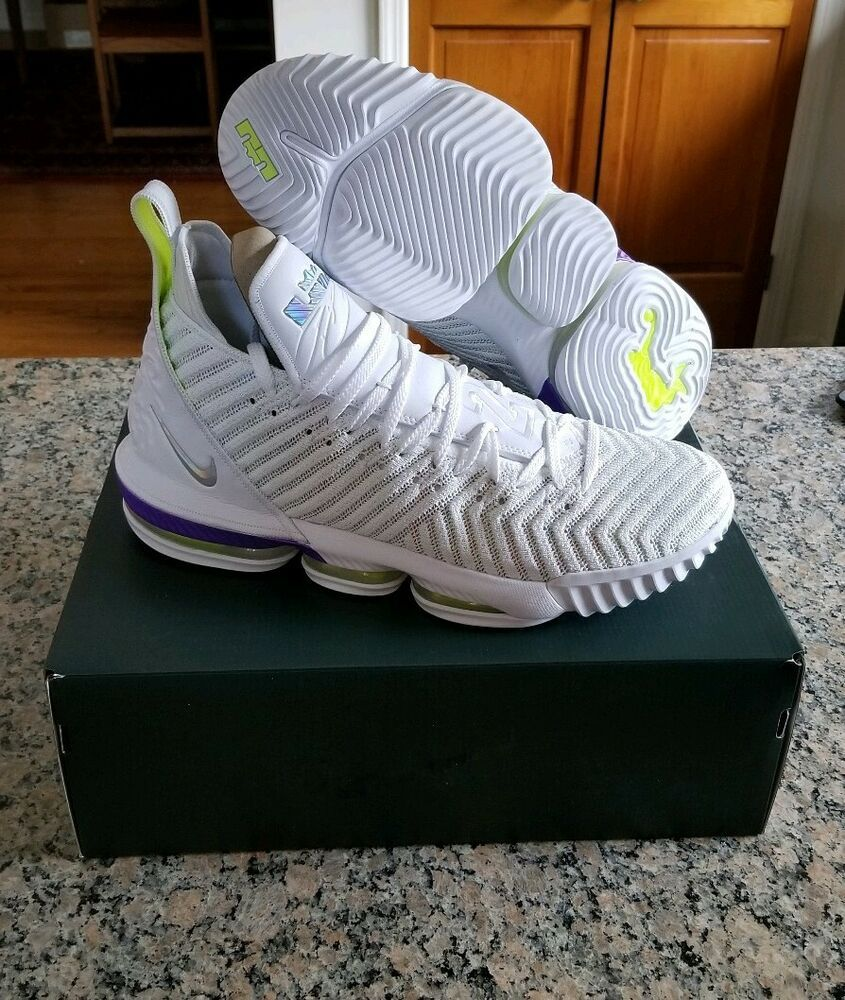 50d4d9f812616 Nike Lebron 16 XVI Buzz Lightyear Size 15 White Purple Volt AO2588-102 NEW   shoes  kicks  fashion