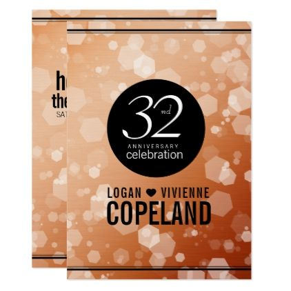 template - #Elegant 32nd Bronze Wedding Anniversary Card - anniversary card template