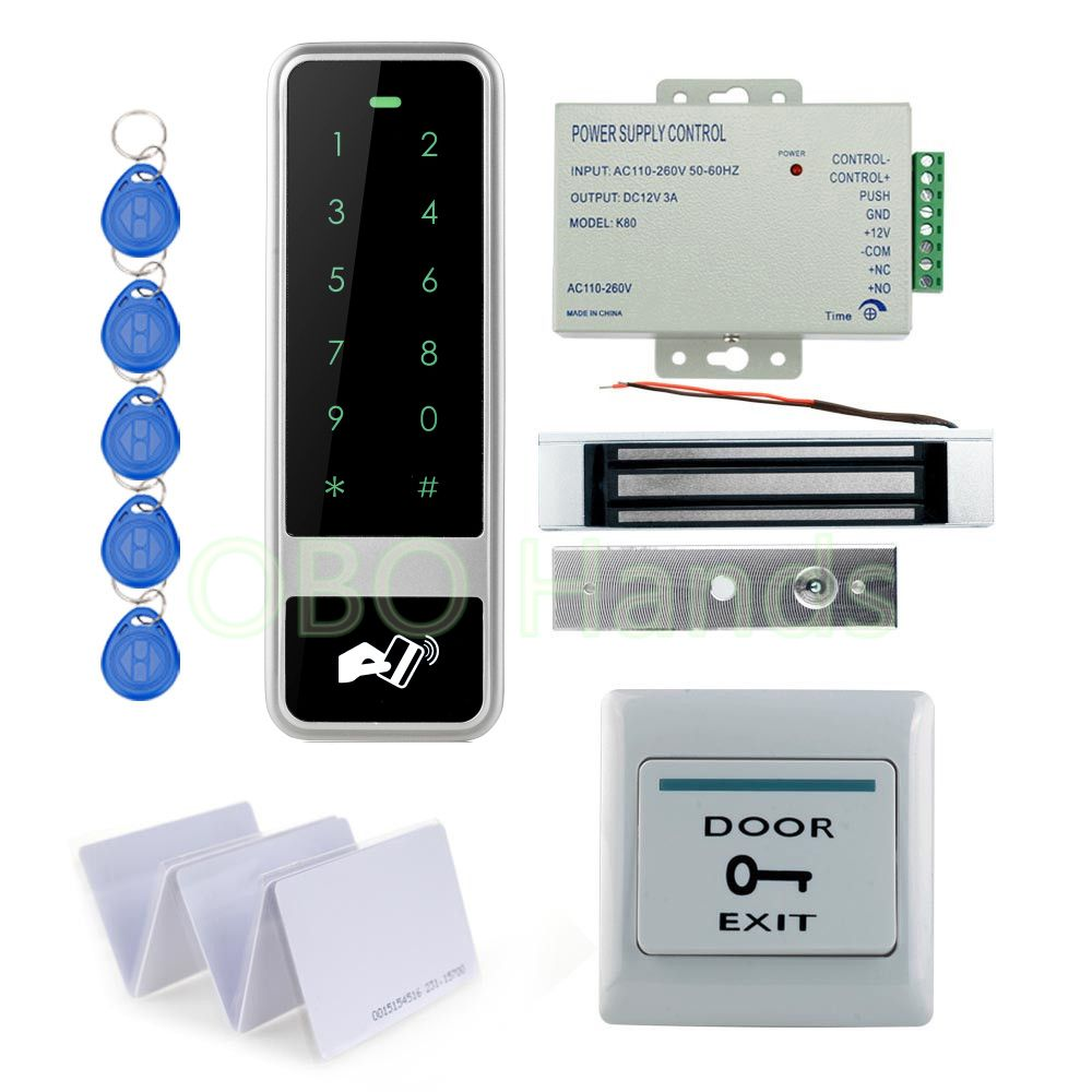 Diy Rfid Waterproof Metal Door Access Control System Kit Set With 180kg Electric Magnetic Lock With 12v Power Access Control Access Control System Digital Lock
