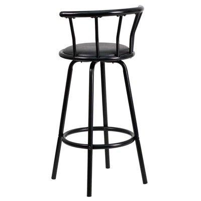 Riverstone Furniture Collection Metal Crown Back Swivel Stool Black Metal Bar Stools Bar Stools Furniture Collection