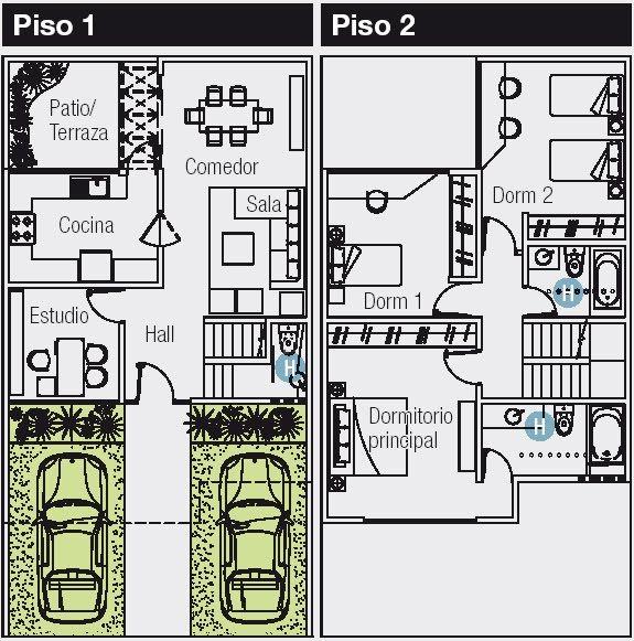 Planos de 120 m2 cuyo terreno es de 8 m de frente por 15 m for Planos de casas 6x20