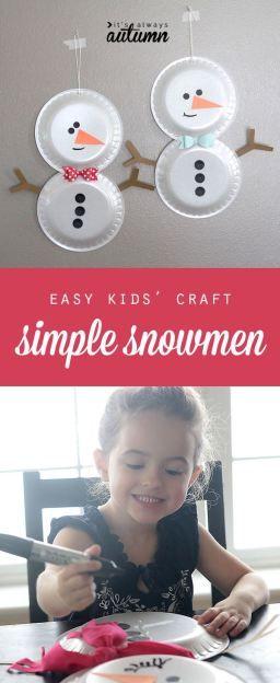 easy holiday kids' craft - foam plate snowmen. #heftyholidays #sp