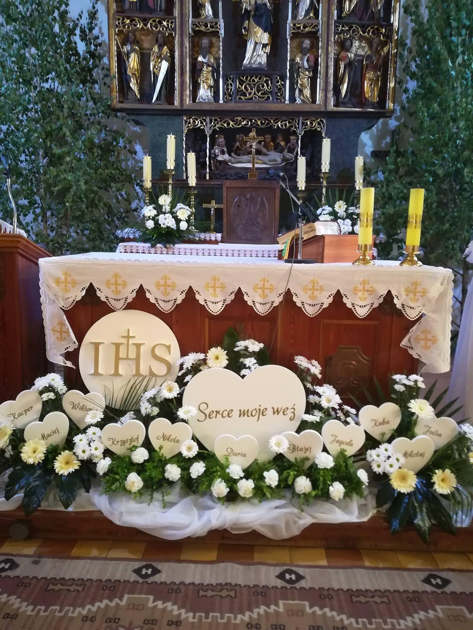 Kielichy I Hostie Styropianowe Ozdoby I Dekoracje Komunijne Church Flowers First Holy Communion Funeral Flowers