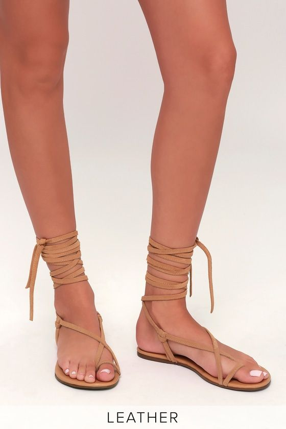 Taylen Tan Suede Leather Flat Lace Up Sandals | Lace up