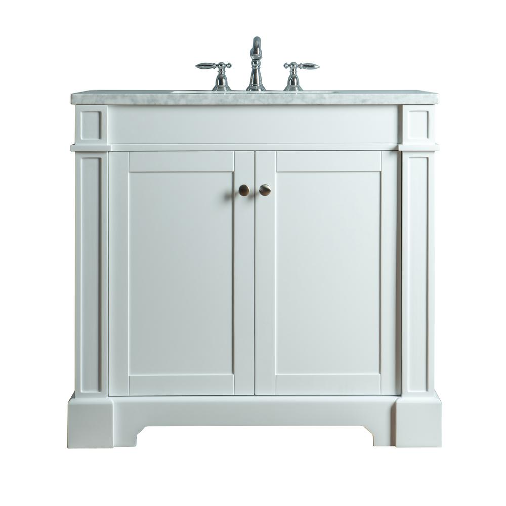 Stufurhome Seine 36 In W X 22 In D Bath Vanity In White With