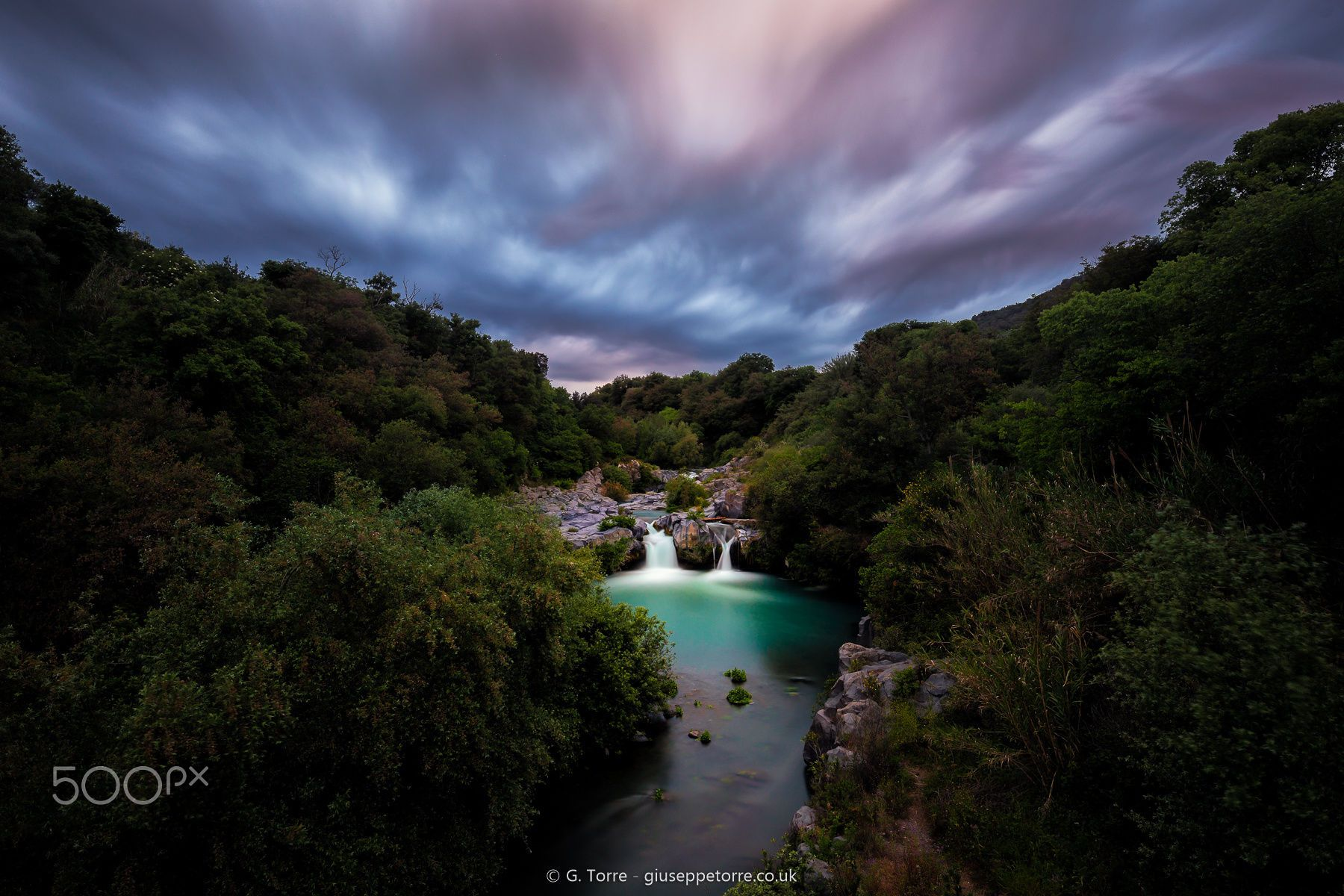 """Eden Prints available here Follow me on Facebook! The Alcantara river just before the sunset. In the middle the """"Gurne"""" waterfalls."""