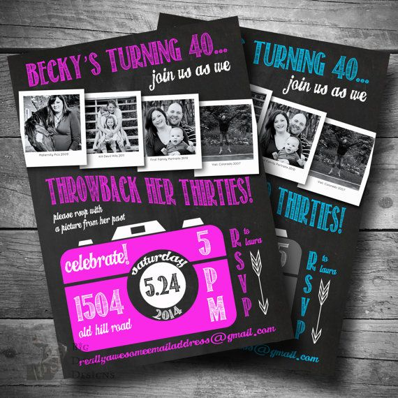 Printable Throwback The Thirties Birthday Invitation 40th Invite Over Hill E