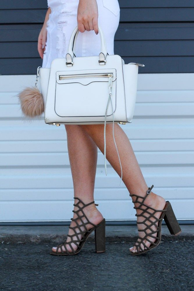 532dbf8cef1 rebecca mink white bag with steve madden Skales chunky heel caged shoes in  olive