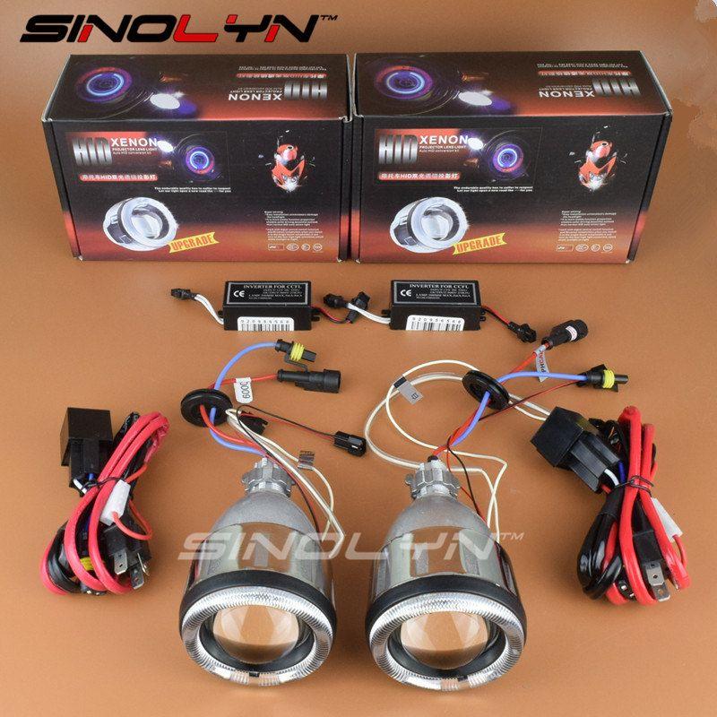 Motorcycle Headlight Angel Eyes Hid Bi Xenon Projector Lens Headlamp