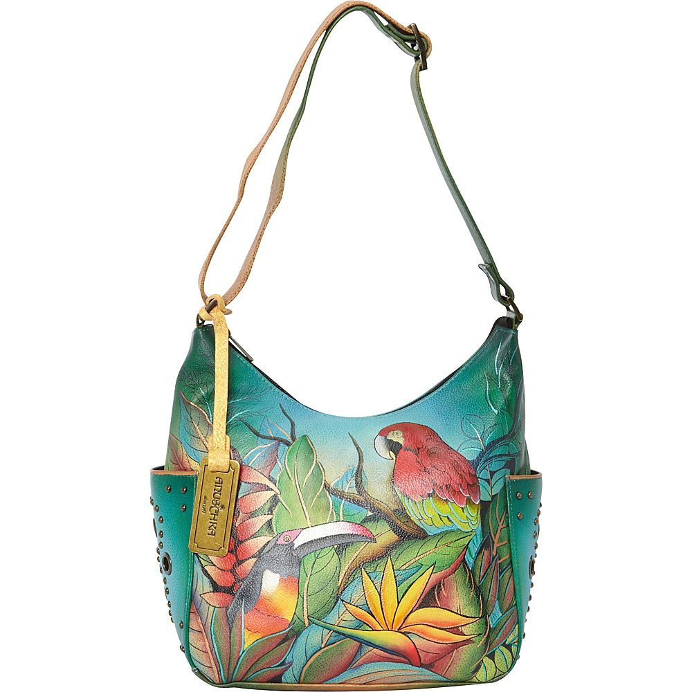 Chka Hobo With Side Pockets Tropical Bliss Leather Handbags Tortoise Shell Laptop Cases