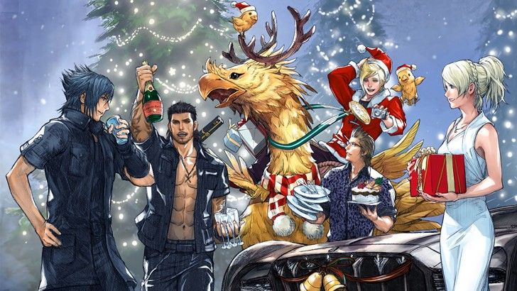 Final Fantasy Christmas.Ffxv Christmas Party Holiday Wallpaper Video Games Party
