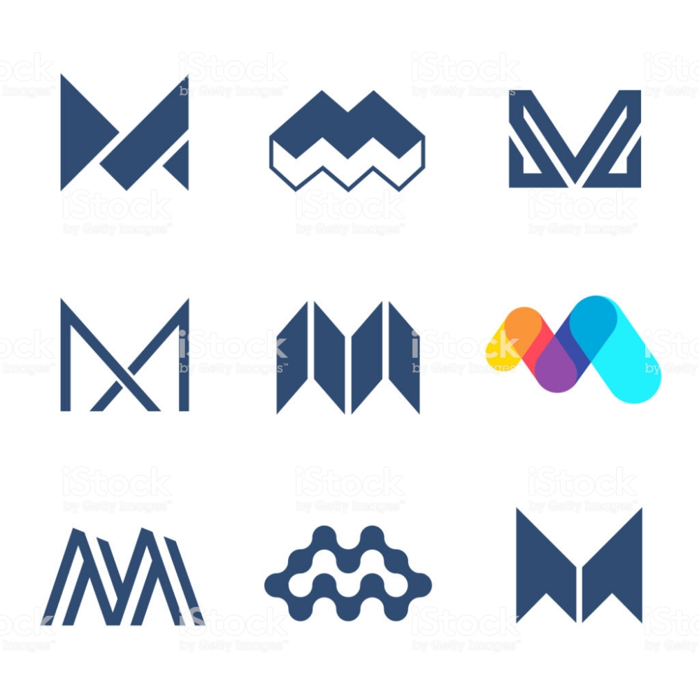 Set Of Vector Icon Design Template M Letter Initials Logo Design M Design Logo Letter Logo Design