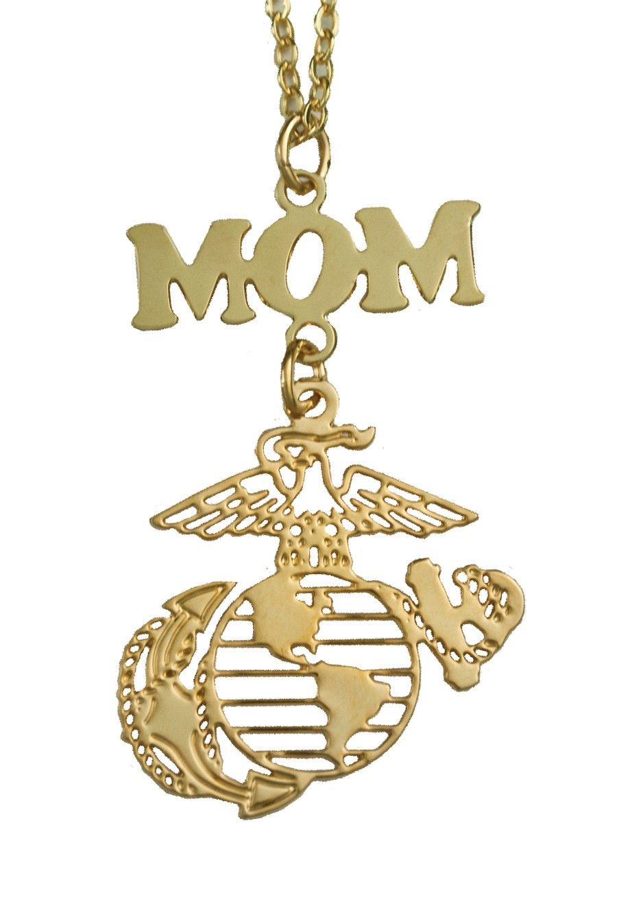women 39 s marine mom gold or silver necklace jewelry. Black Bedroom Furniture Sets. Home Design Ideas