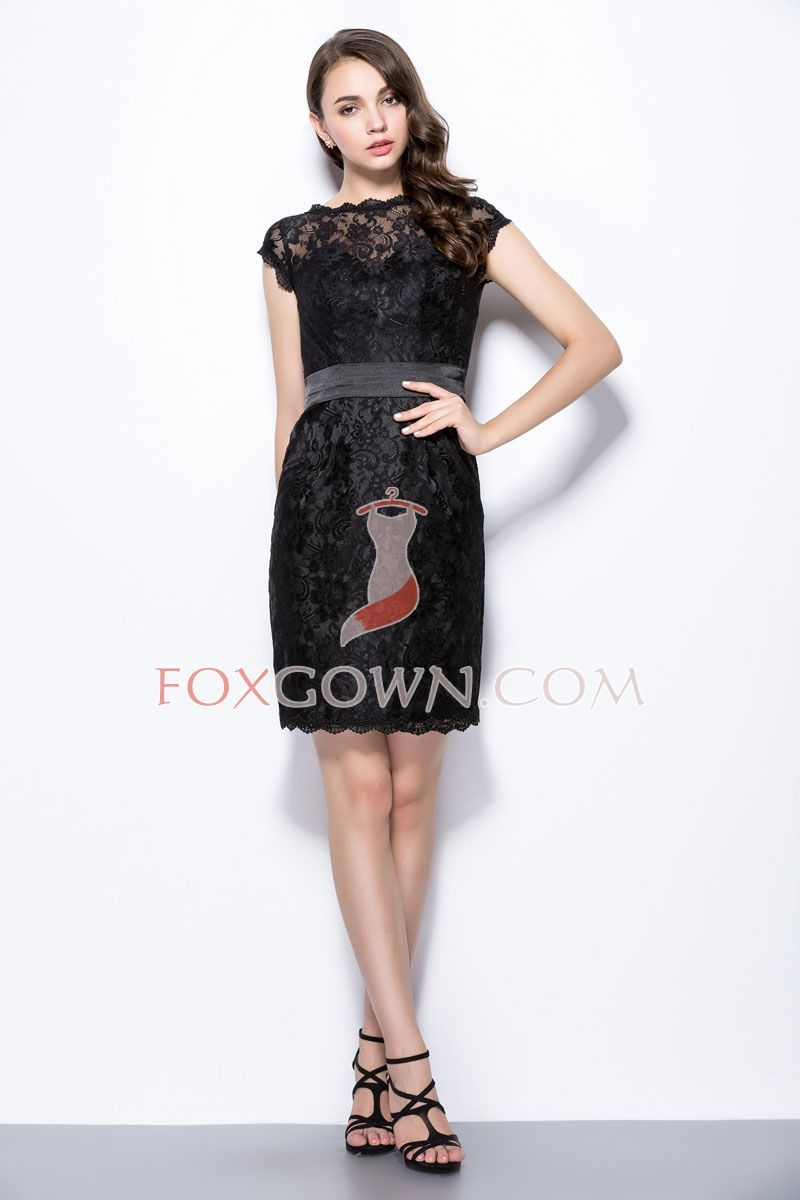 Beautiful Short Lace Bridesmaid Dress On Back With Cap Sleeves