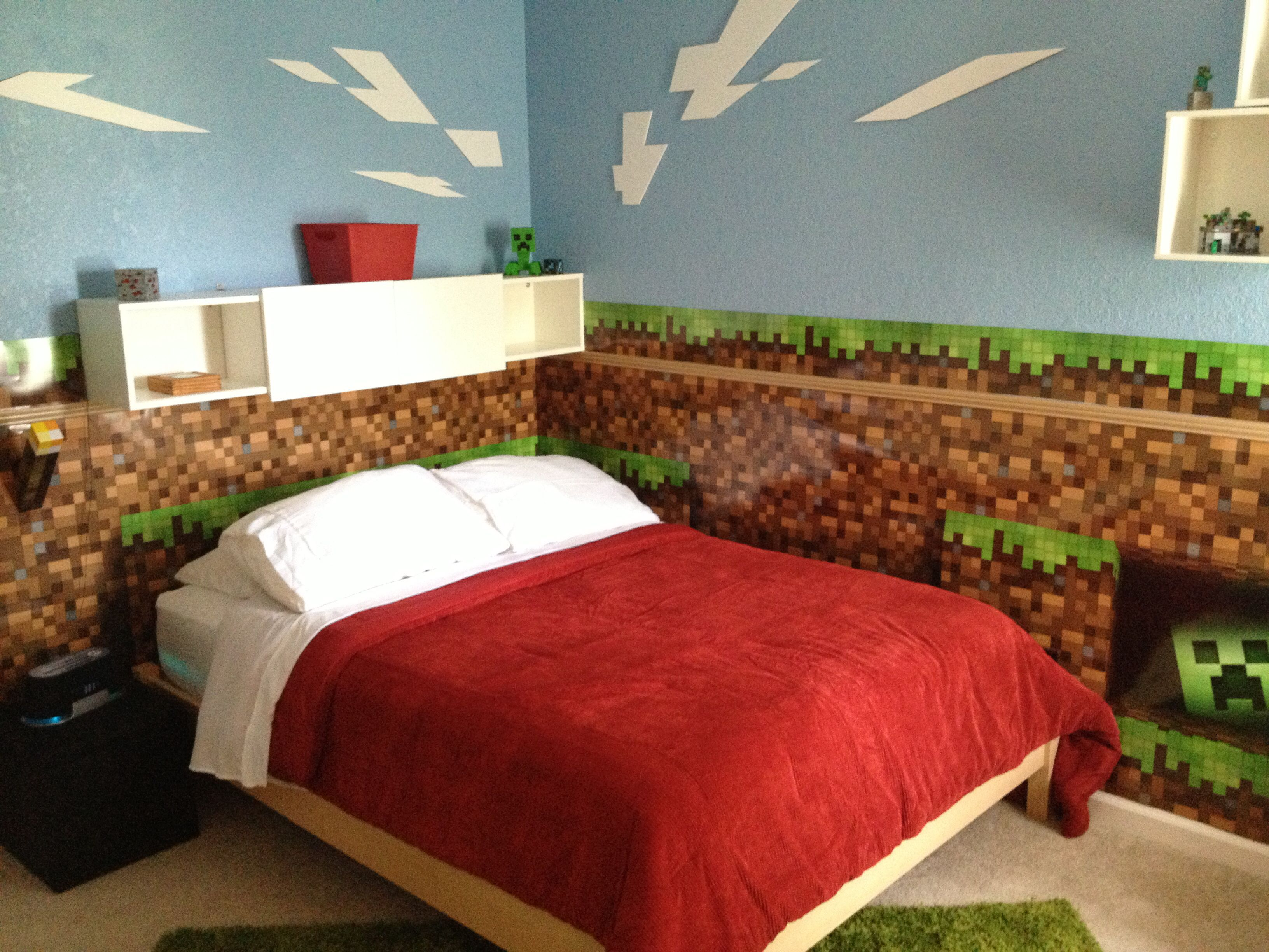 Minecraft bedroom this is cool but    just doing one wall also room rh co pinterest