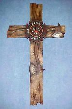 Fireman Wall Hanging Cross Fire Department Maltese Cross Old Barnwood Look