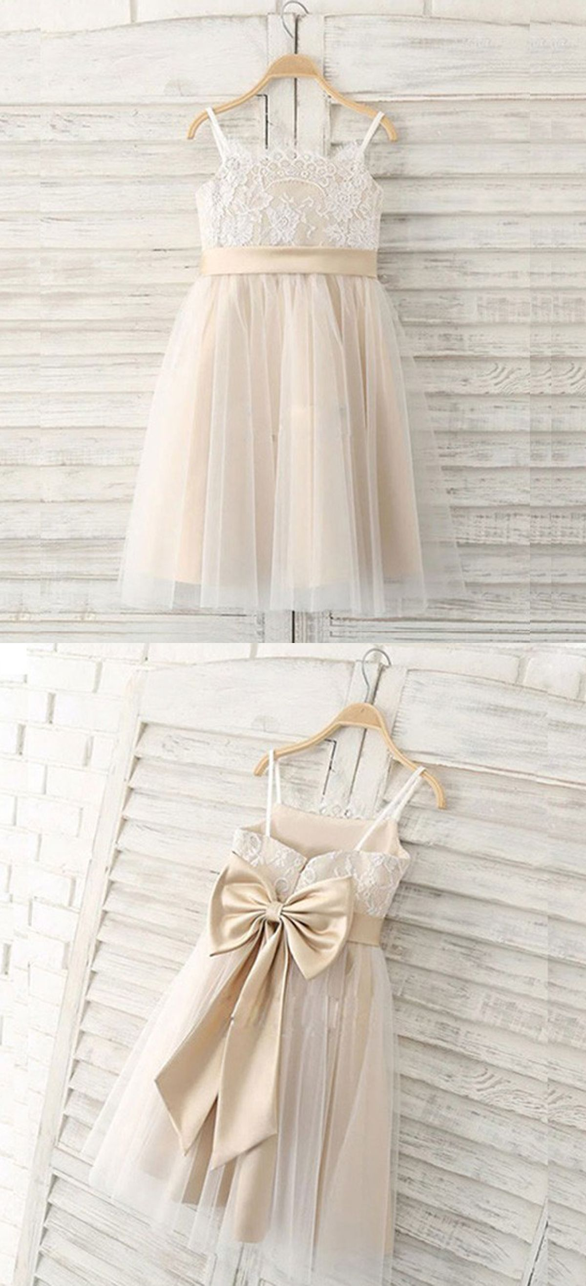 803637c9f311 A-Line Spaghetti Straps Light Champagne Flower Girl Dress with Lace