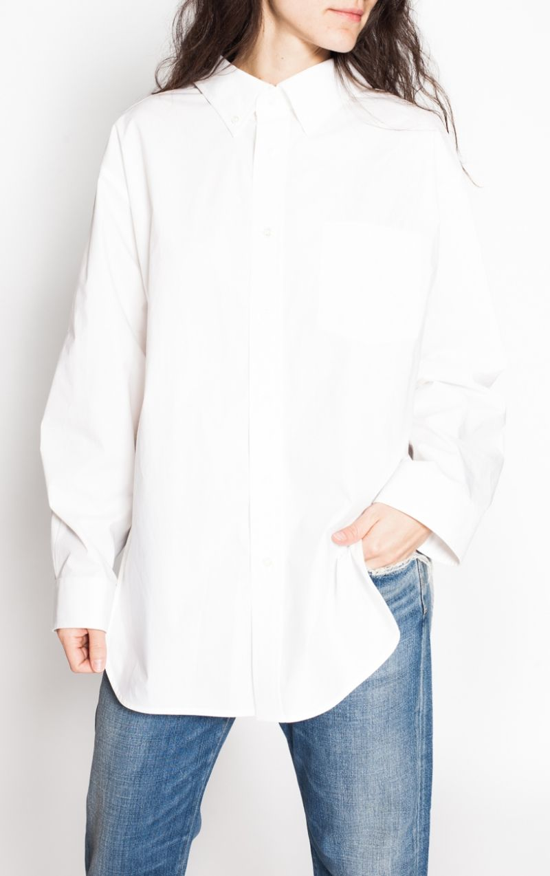 Bulk Designs Affordable Online White Swing Collar Shirt Balenciaga Outlet Great Deals EyiOfL