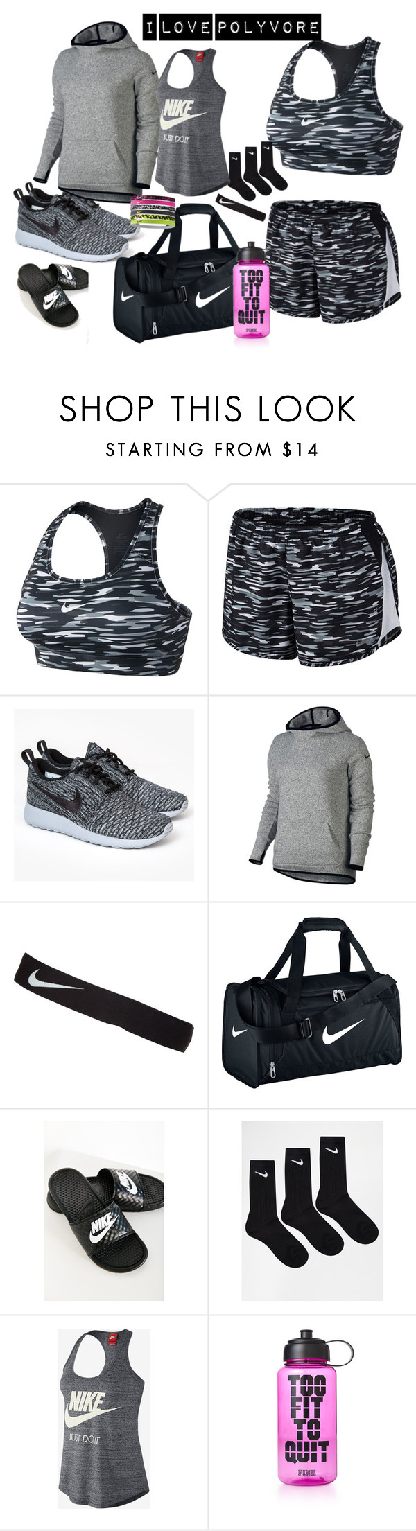 """""""Untitled #98"""" by allofme555 ❤ liked on Polyvore featuring NIKE and Victoria's Secret PINK"""