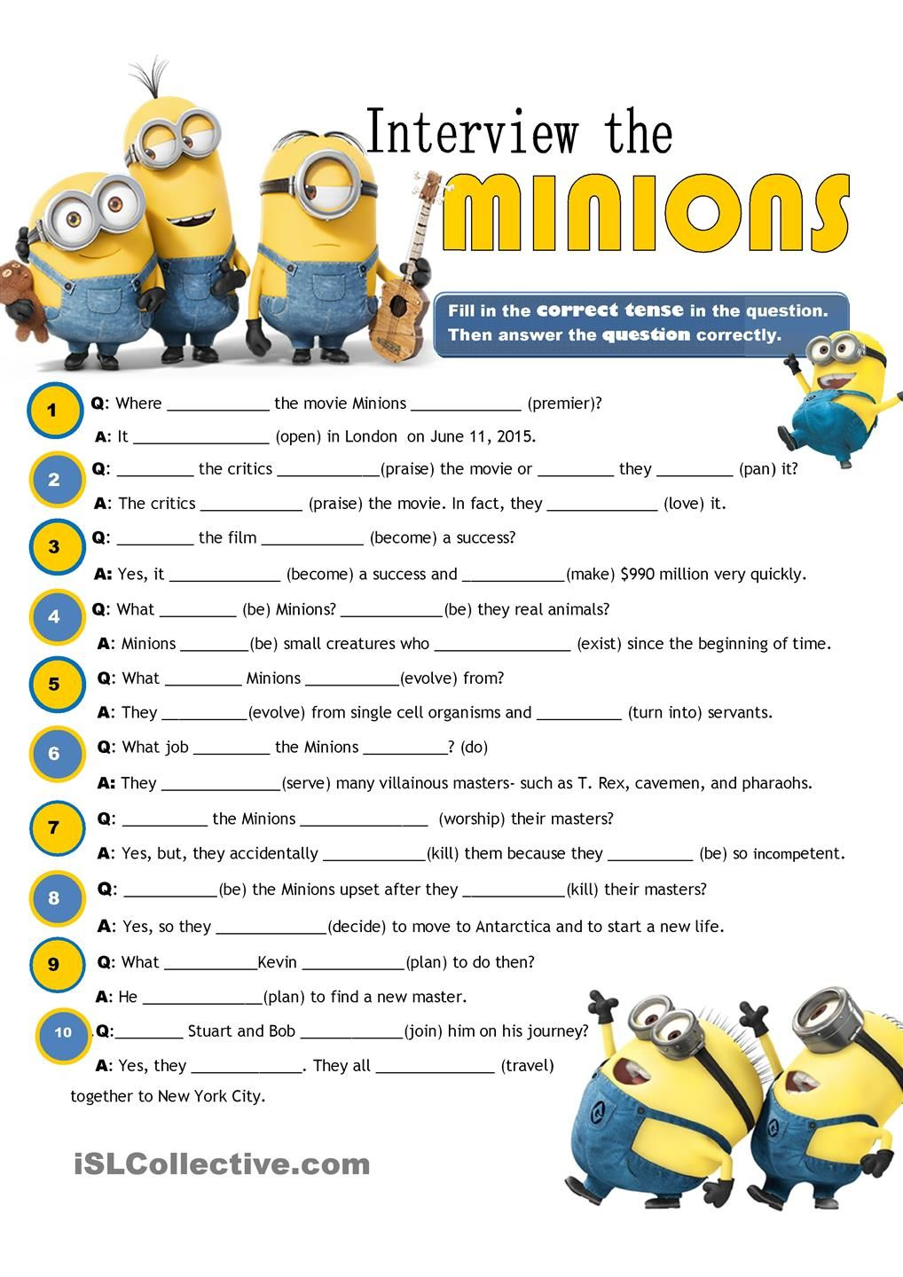 Interview the Minions - review of tenses: ESL printable worksheet of ...