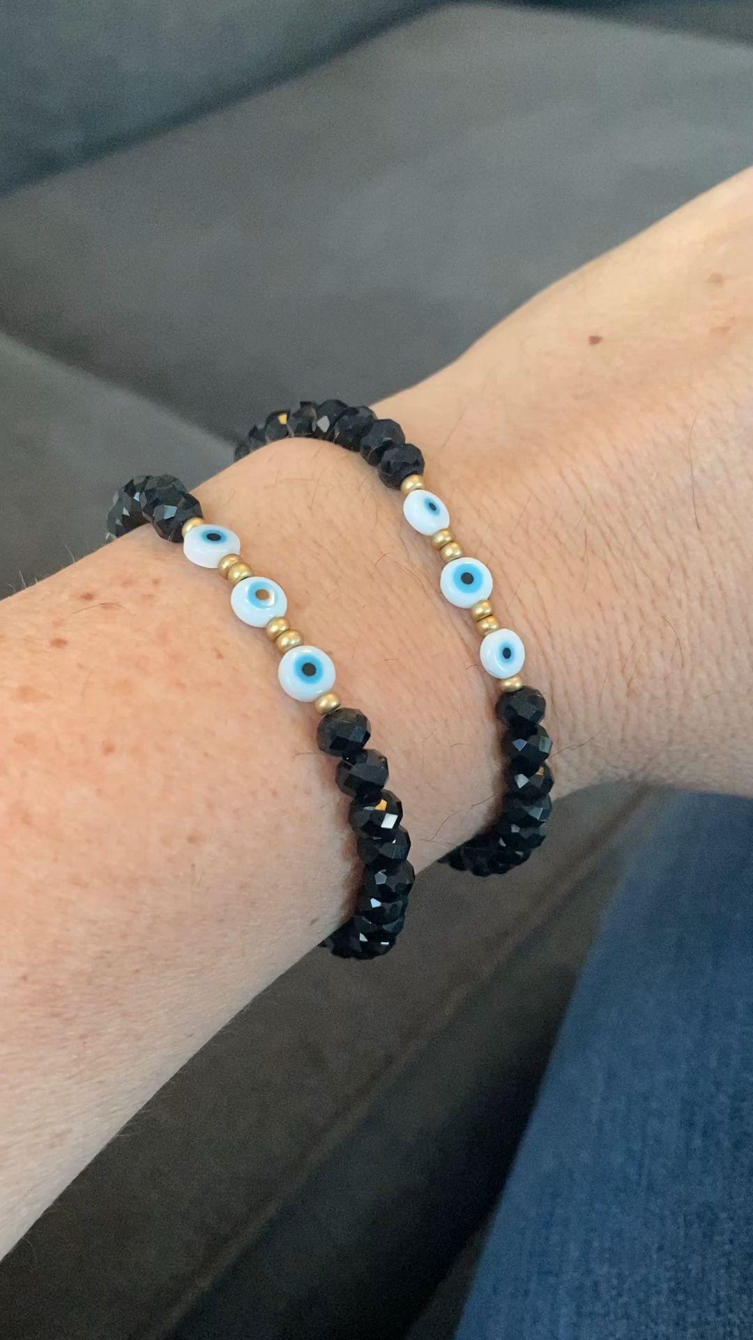 Evil Eye Black Crystal Individual Beaded Bracelet