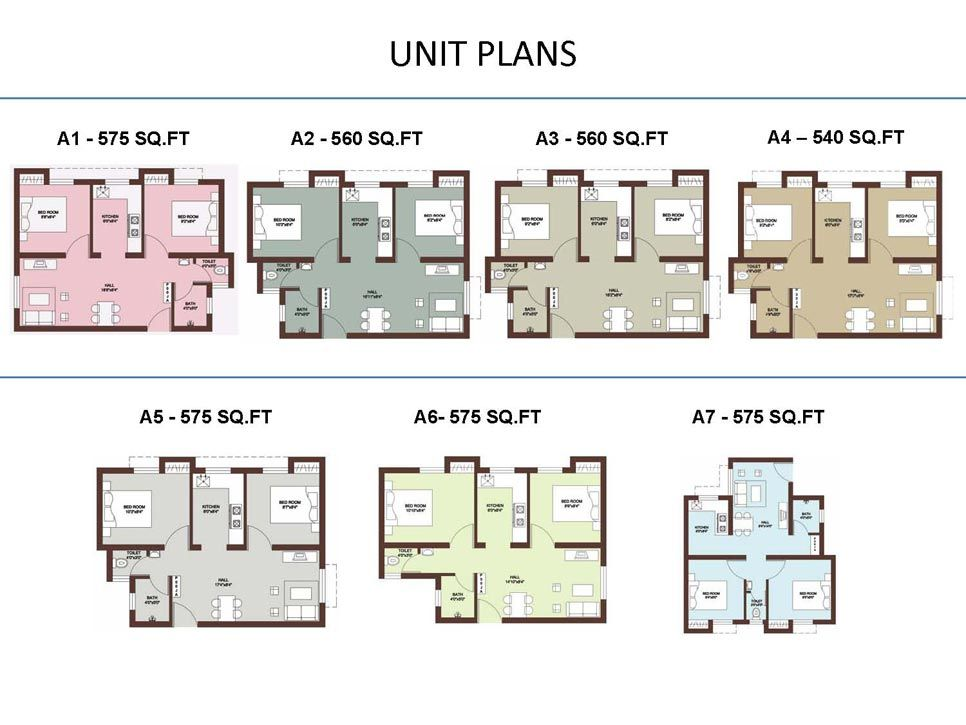 Apartment unit floor plans unit plans 540 560 575 for Four unit apartment building plans