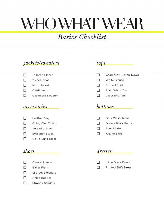 Marvelous Fashion · Basics Checklist