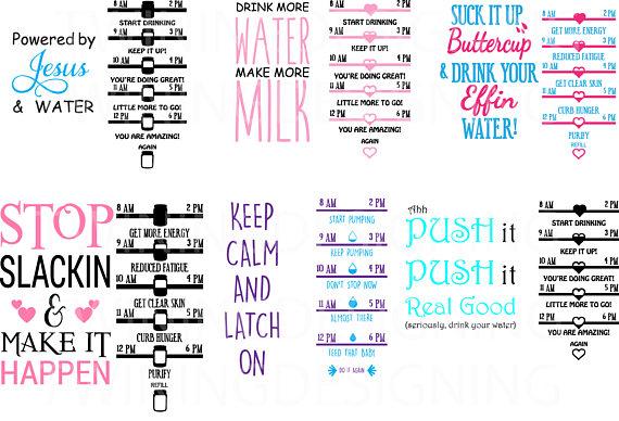 Water Tracker svg Bundle SVG PNG DXF Zip folder digital ... Water Bottle Clip Art Svg
