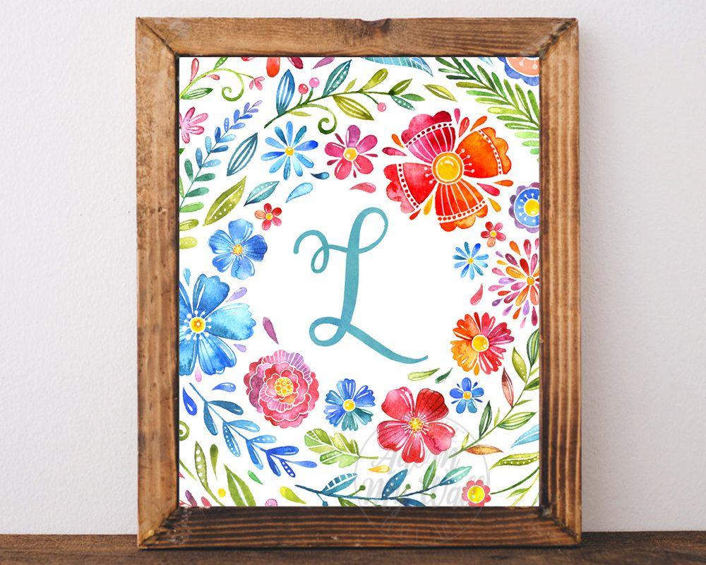 Monogram Nursery Letter L Print Printable Wall Art Girl Nursery Decor Floral Wreath Instant Download Water Initial Prints Nursery Monogram Letter Wall Art