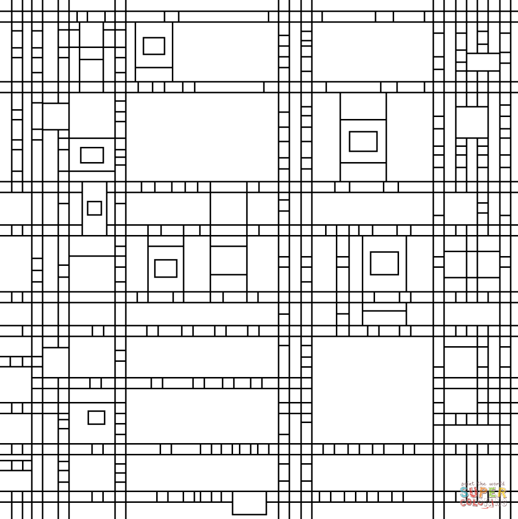 Broadway Boogie Woogie by Piet Mondrian coloring page ...