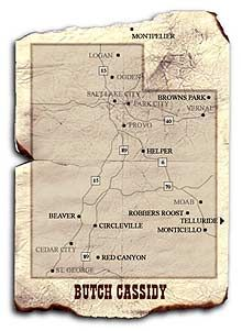 Map of Butch Cassidy's travels in Utah, Brown's Hole   now Brown's