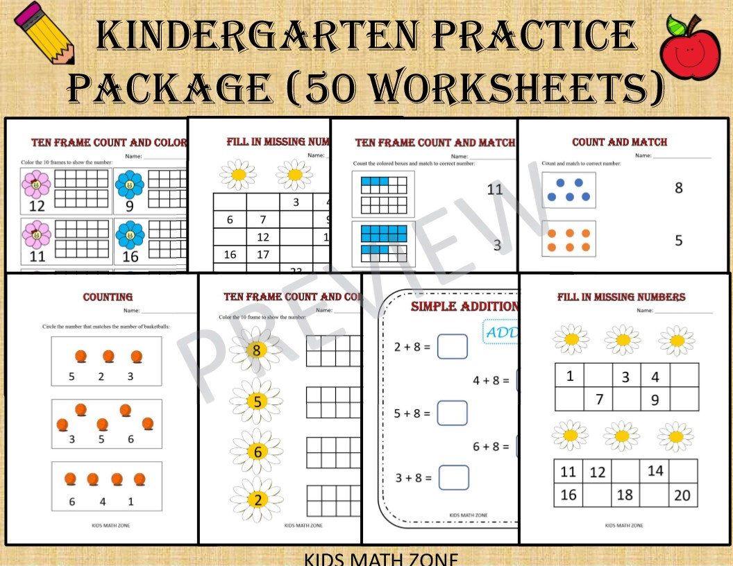 Kindergarten Practice Package 50 Math Worksheets For