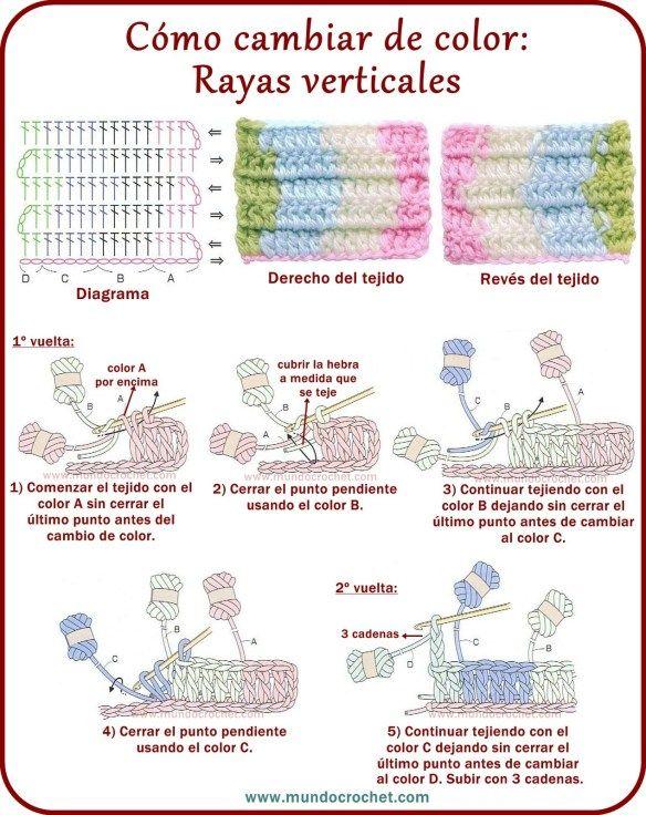 Como realizar cambios de color en crochet o ganchillo | puntos o ...